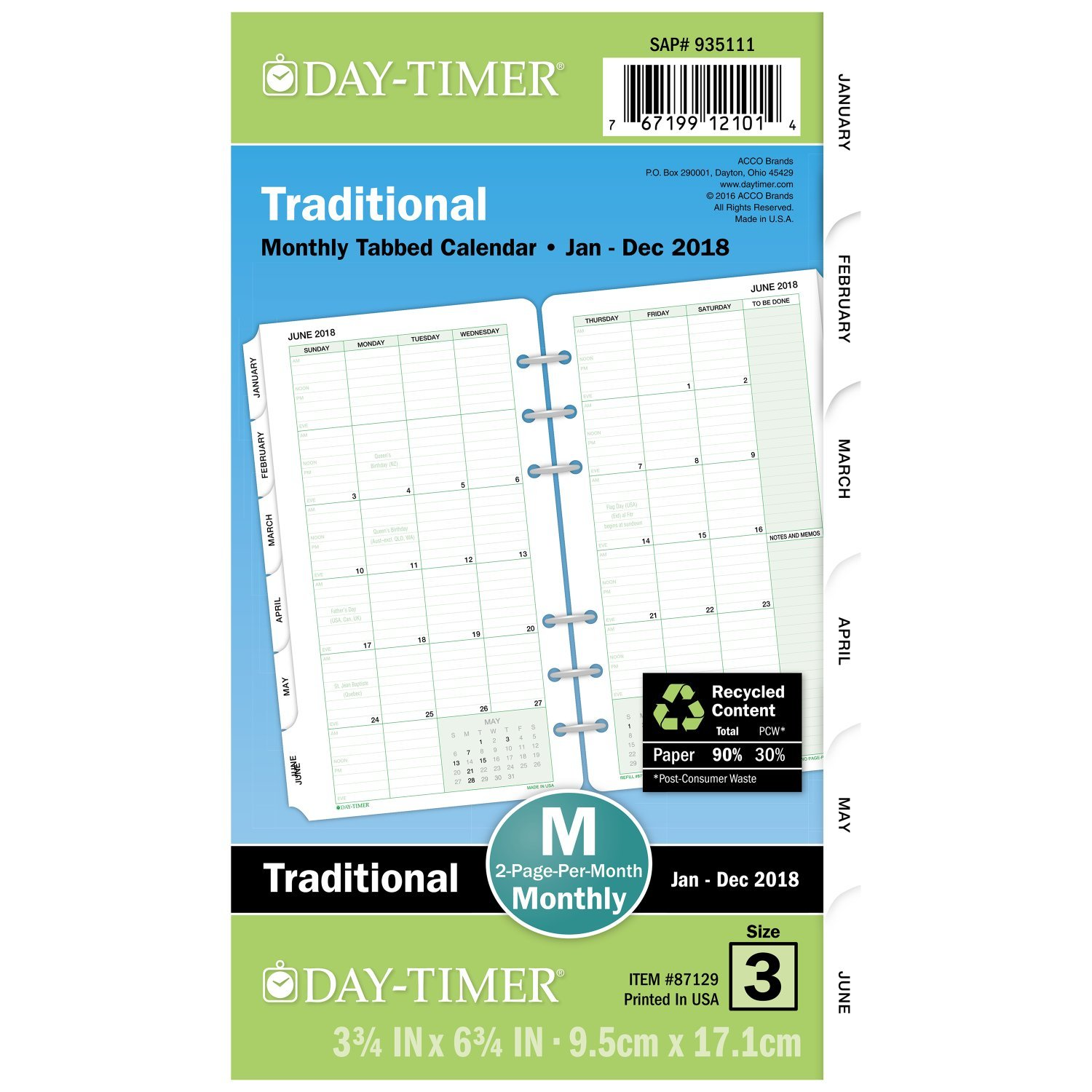 Day-Timer Refill 2018, Two Page Per Month, January 2018 - December 2018, 3-3/4 x 6-3/4, Loose Leaf, Portable Size, Classic (87129-1801) 3-3/4 x 6-3/4 ACCO Brands
