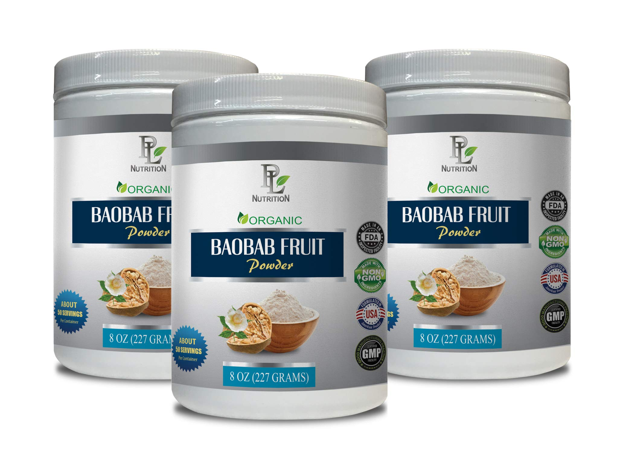 antioxidant Formula - Baobab Fruit - Organic Powder - Digestive Weight Loss - 3 Cans 24 OZ (150 Servings)