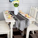 Top Finel Rayas geométrico de color corredor de la tabla de mezcla camino con borlas para la cena artística fiesta decoración de la boda mesa de comedor manera(33cmX180cm)Gris
