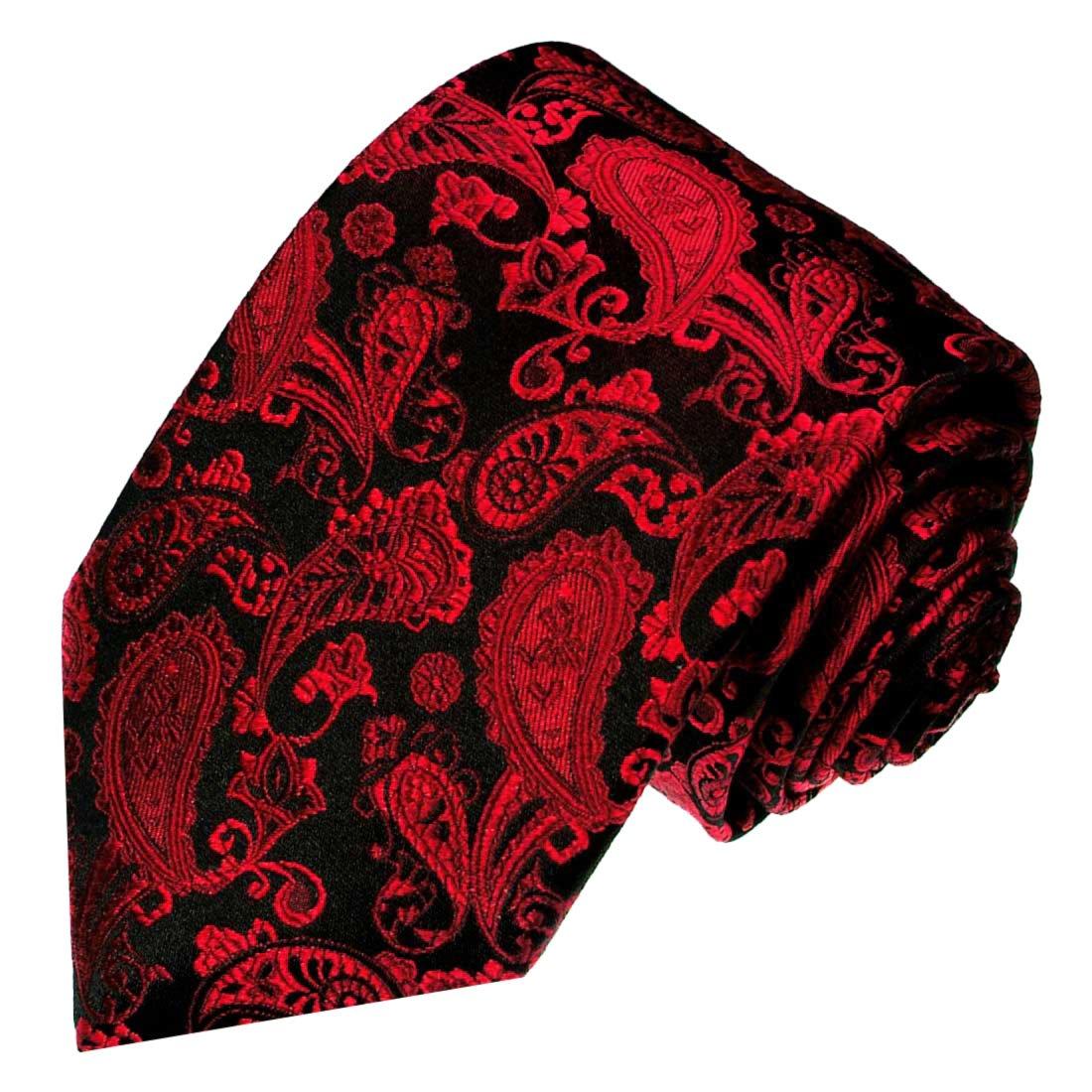 LORENZO CANA/ /Corbata 100/% seda rojo negro Paisely alta calidad hecha a mano seda corbata 84217 /Luxus/