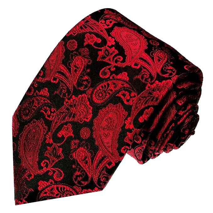 LORENZO CANA – Luxus – Corbata 100% seda rojo negro Paisely alta ...