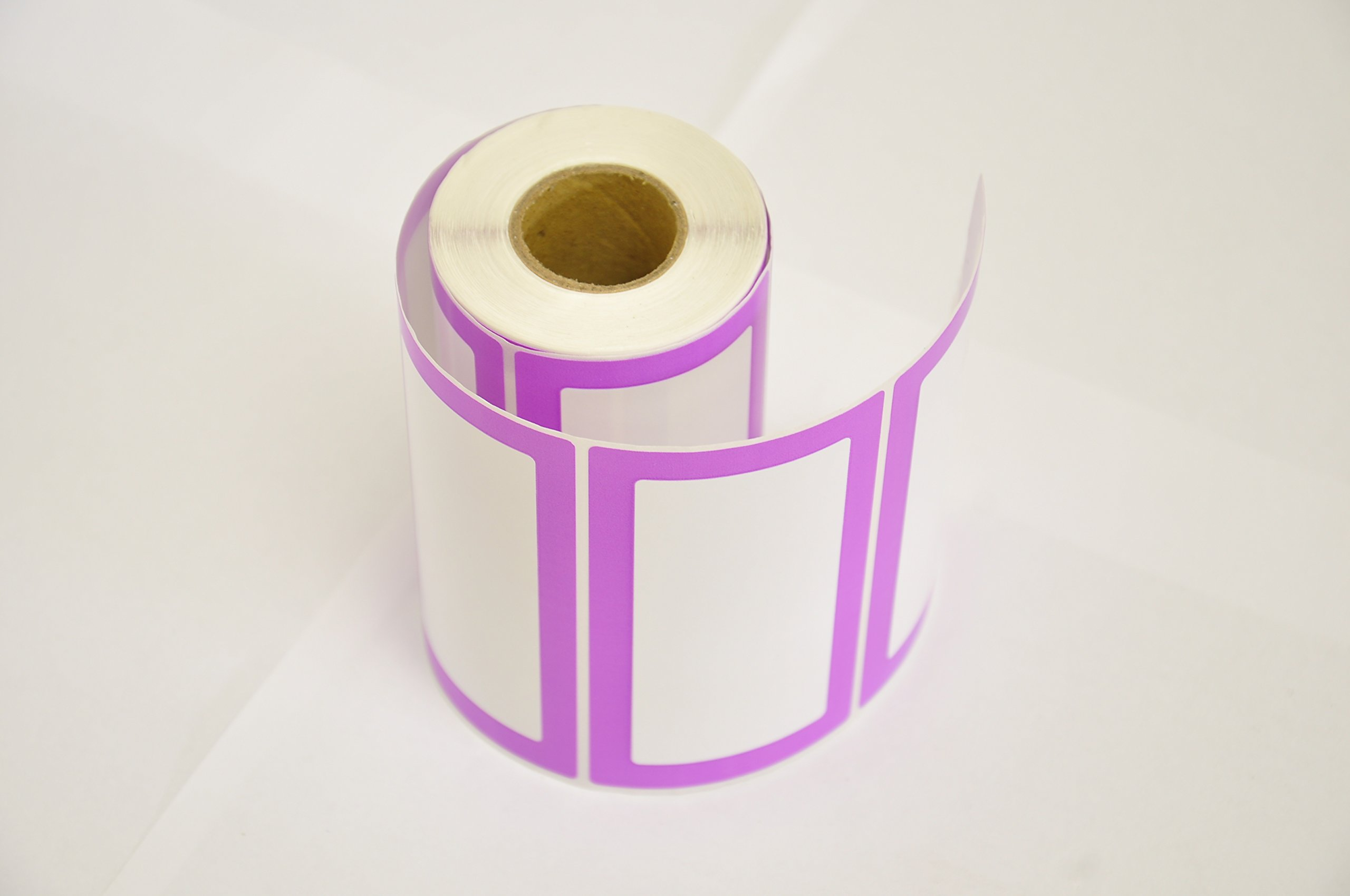 Colorful Plain Name Tag Labels - 2 Rolls 500 Stickers in Total - 3.5 x 2 inches - Nametags for Jars, Bottles, Food Containers, Folders, Birthday Parties and Kids Clothes (Purple/Purple 2 Pack) by Navy Penguin (Image #5)