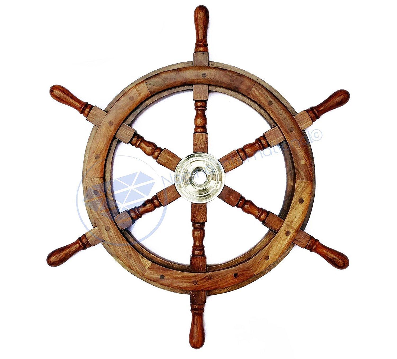 Natural Wood Premium Pirate's Boat Ship Wheel   Nagina International (48 Inches)