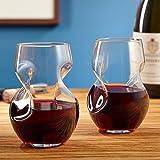 Brilliant - Tourbillon Aerating Twisted Stemless Wine Glasses, 250 ML. Set of 2