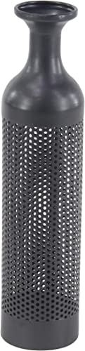 Deco 79 Modern Perforated Metal Floor Vase, 4 W x 19 H, Gray