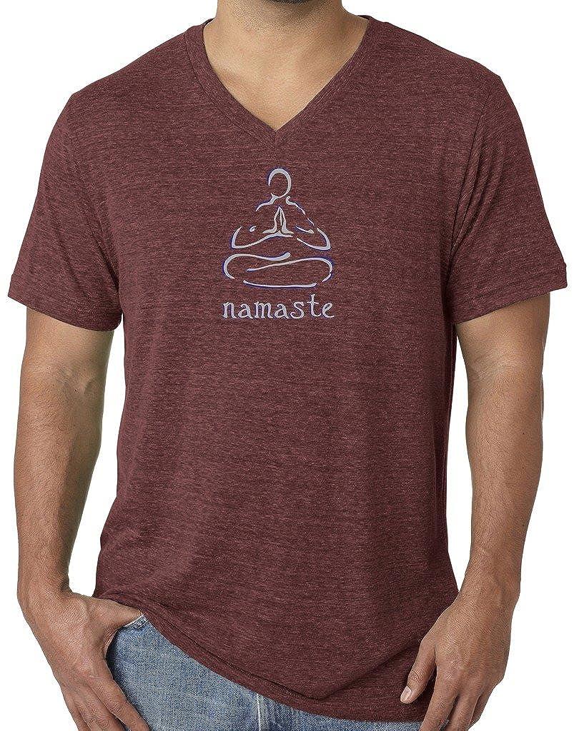 Yoga Clothing For You Mens Namaste Lotus V-Neck Tee Shirt