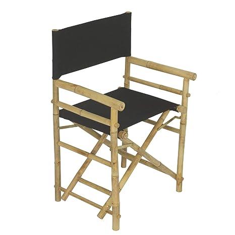 Juego de 2 sillas plegables de madera de bambú, color negro ...
