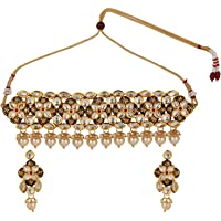 Efulgenz Indian Bollywood Antique 14 K Gold Plated Kundan Faux Pearls Wedding Choker Necklace Earrings Jewelry Set