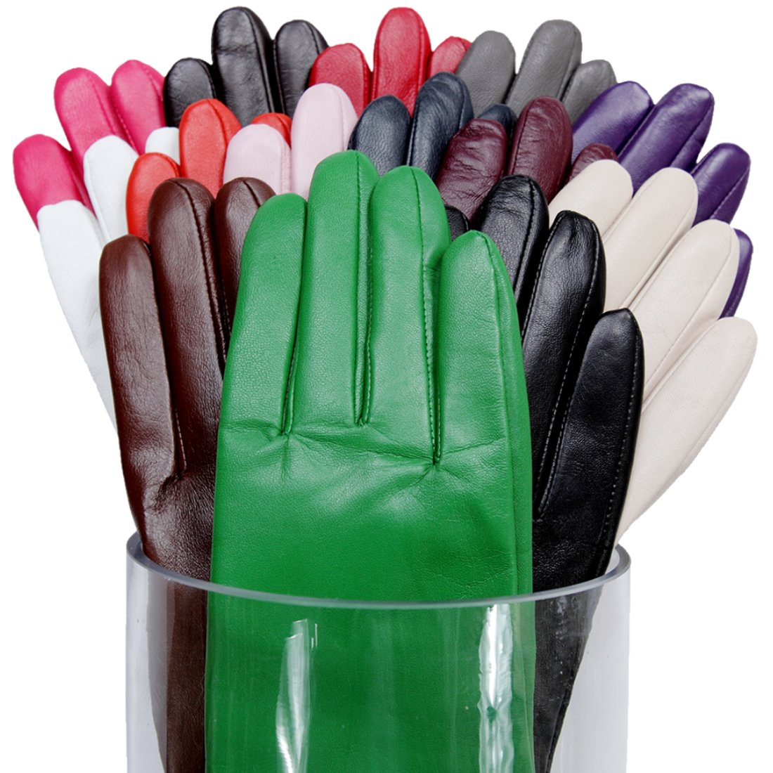 MATSU Simple Sytle Women Winter Warm Lambskin Leather Gloves 7 Colors M9022 (L, Black-Touchscreen)