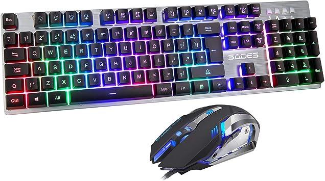 Juego de teclado y ratón SADES EK-1 Teclado UK USB con cable QWERTY UK Layout (negro)