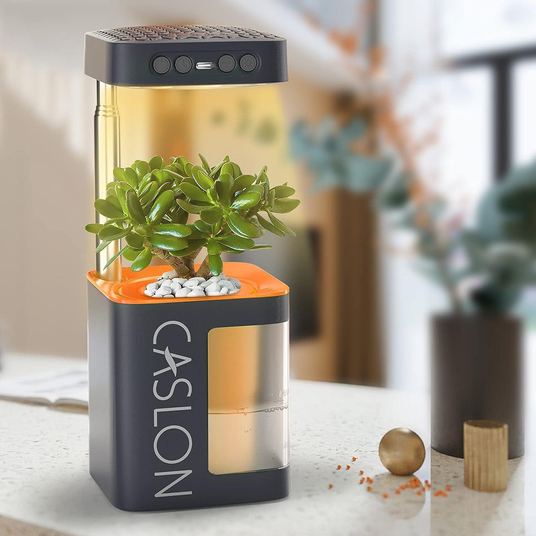 Mini LED Grow Light for Indoor Plants Full Spectrum, 3H/6H/9H Timing +Memory Function+USB Recharge, Smart Succulent Plant Seed Growing Lamps DIY for Desk, Home Decor, Garden(Orange)