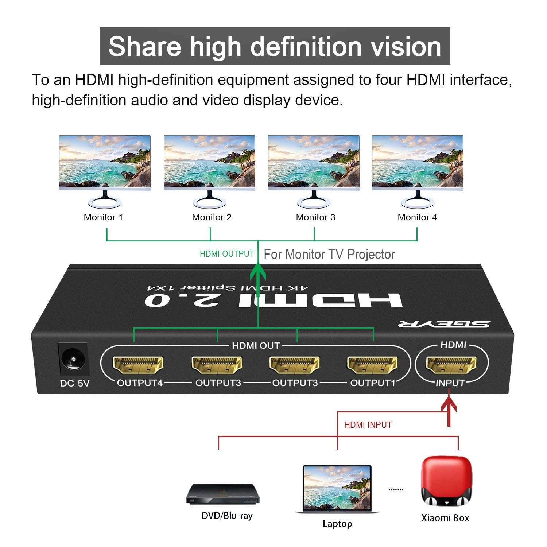 SGEYR 1x4 Port HDMI Splitter 1 auf 4 4K 4 Way HDMI Verteiler 1 In 4 Out Unterst/ützung 4K 30Hz Ultra HD 3D 1080p f/ür Xbox PS4 PS3 Roku Firestick HDTV