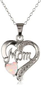 Sterling Silver Diamond-Accent Birthstone Collection Mom Heart Pendant Necklace, 18""