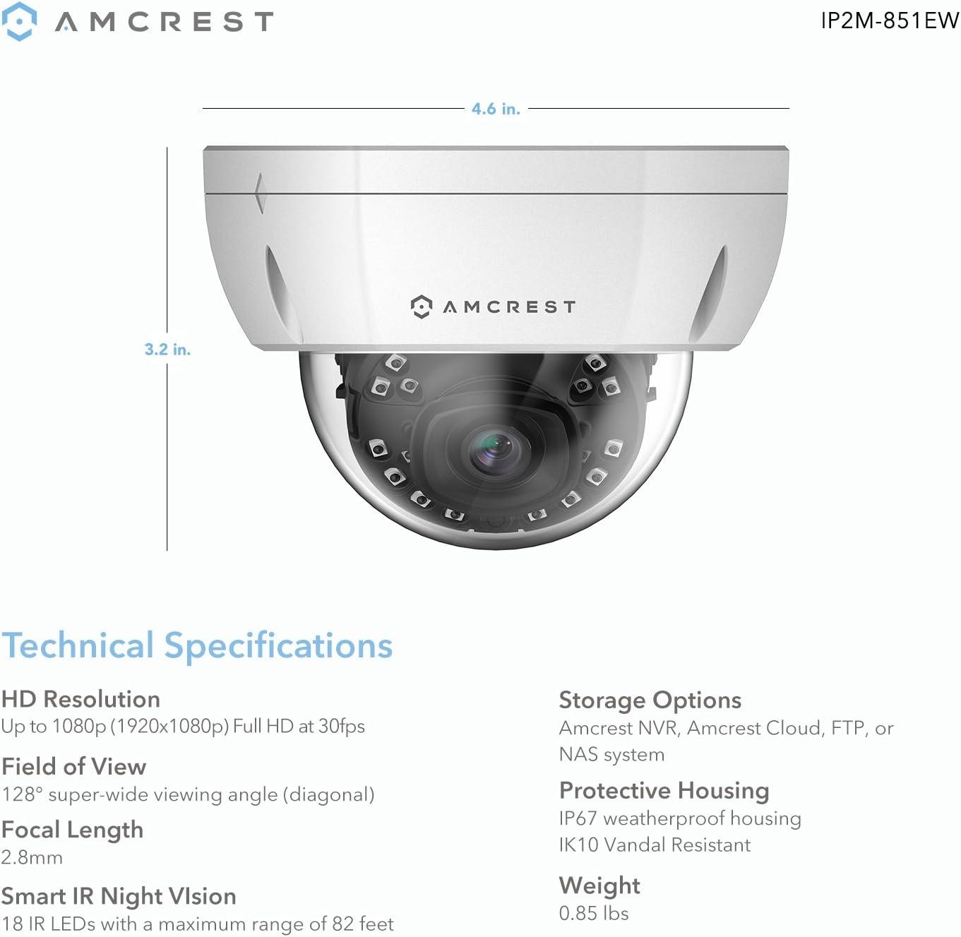 Amcrest ProHD al Aire Libre 1080P PoE cúpula IP cámara de ...