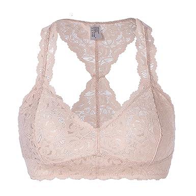 8d479231265152 FOSHANOMOA Women s Floral Halter Lace Bralette Unpadded Wireless Lingerie  Bra Crop Top (M