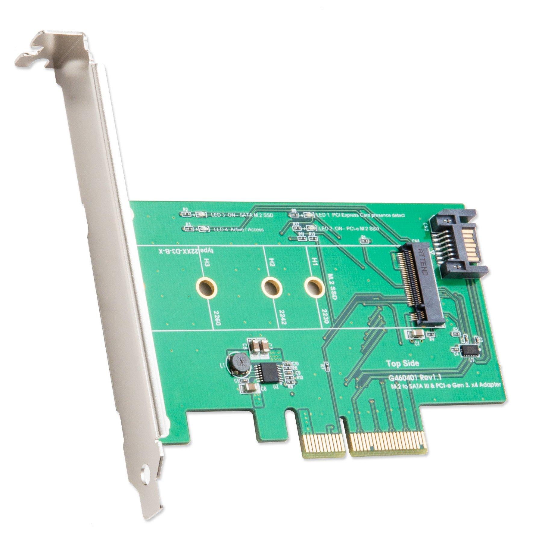 Syba M-Key M.2 a PCIe X4 SSD Adapter Or M Key M2 a SATA Conn