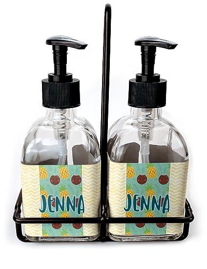Piña y Coco Juego de jabón y dispensador de loción (cristal) (personalizado)