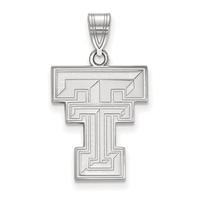 925 Sterling Silver Rhodium-plated Laser-cut Texas Tech University Large Pendant