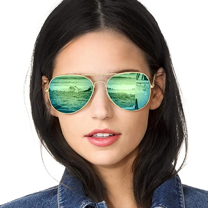 6899a01a9088 Amazon.com  SODQW Classic Aviator Sunglasses Polarized for Women Flash  Mirrored Lens Large Lightweight Metal Frame - UV 400 Protection (Gold Yellow  Green ...