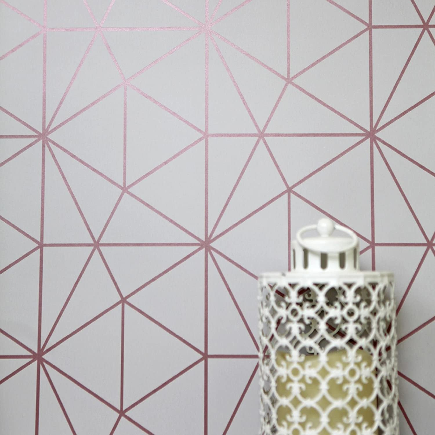 Metro / Grau und Ros/égold / WOW009 World of Wallpaper Tapete/ mit geometrische Dreiecken