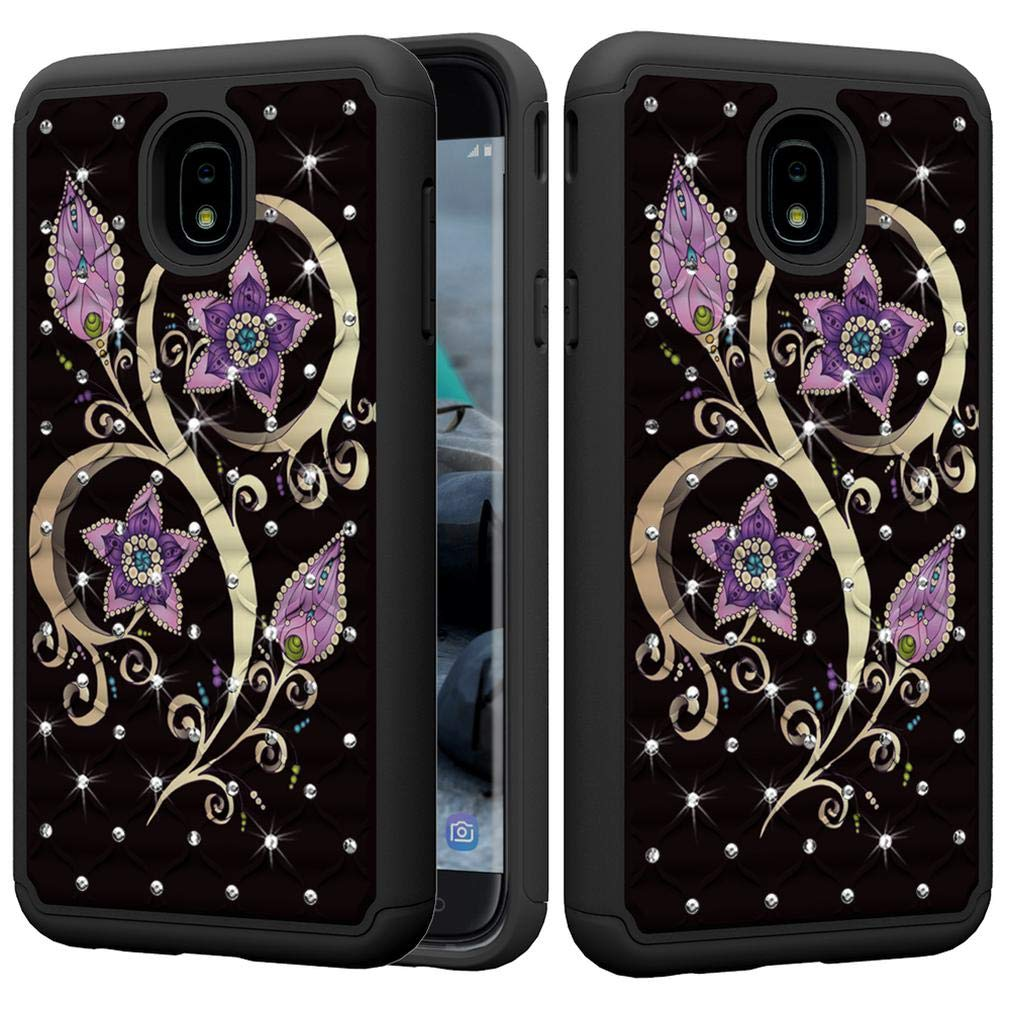 Amazon.com: Firefish Galaxy J7 2018 Case,Durable Anti Sliding 2 in 1 Hybrid Case Back Cover Hard PC with Creative Pattern & Point Drill Inner Soft TPU ...