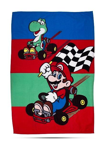 Nintendo Mario diseño manta de forro polar – diseño de impresión grandes, Multicolor