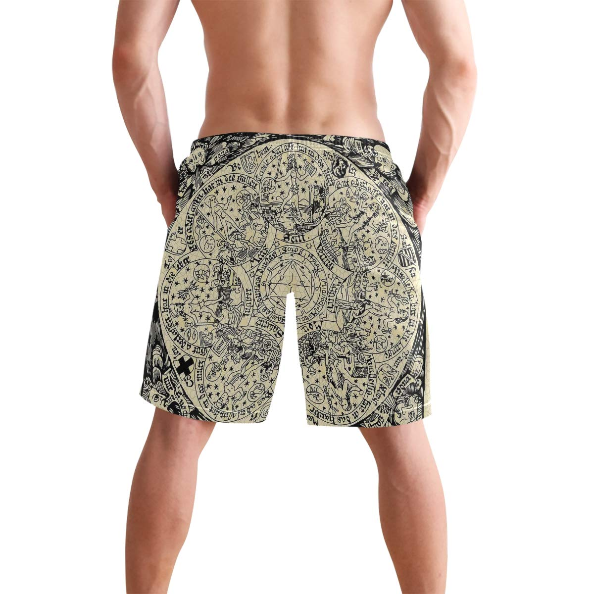 COVASA Mens Summer ShortsSet of Emoticon with Hearts Isolated White Background