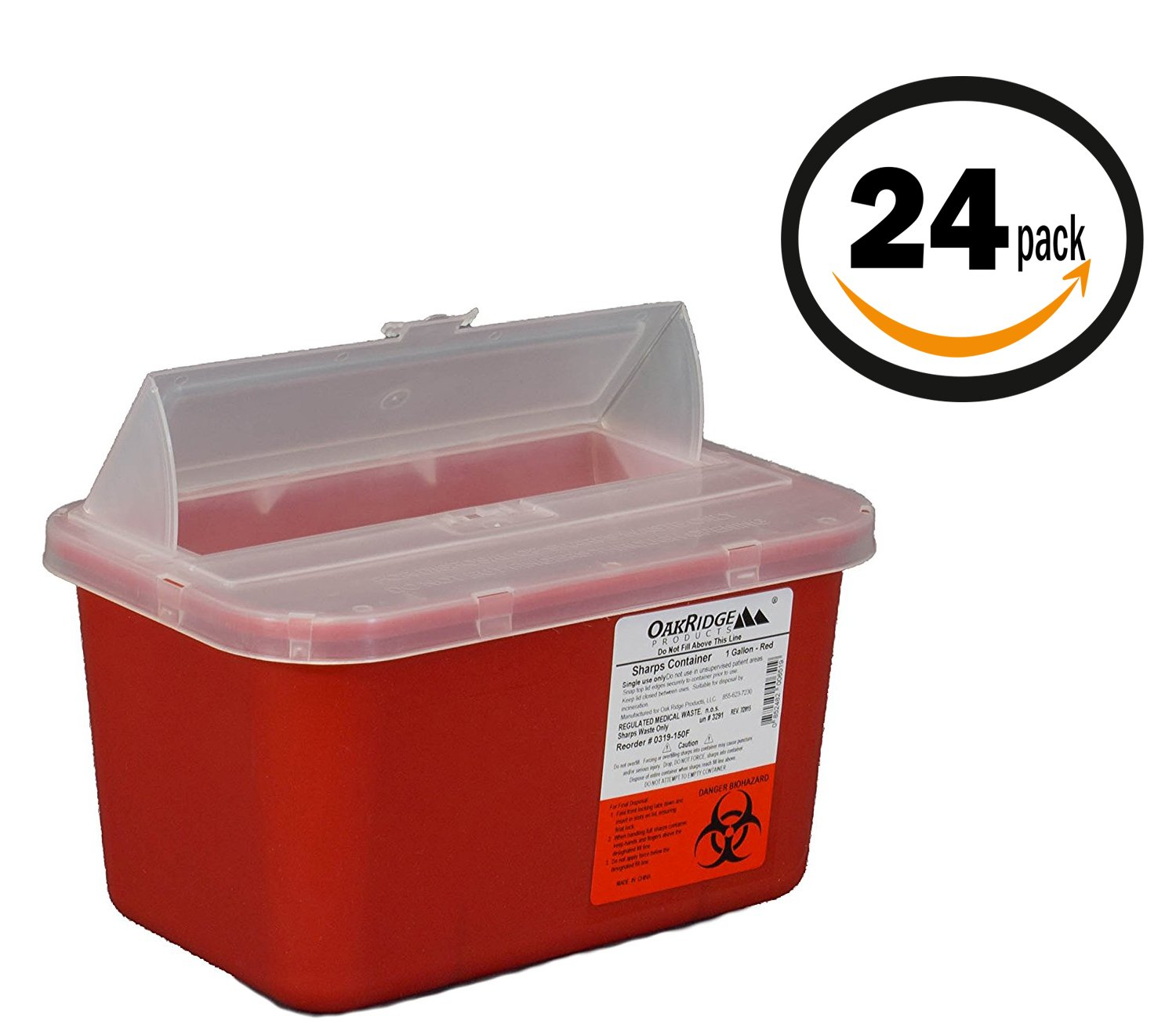 Oakridge Products 1 Gallon Sharps Container (24 Pack) Flip up lid Business bundle | Full case