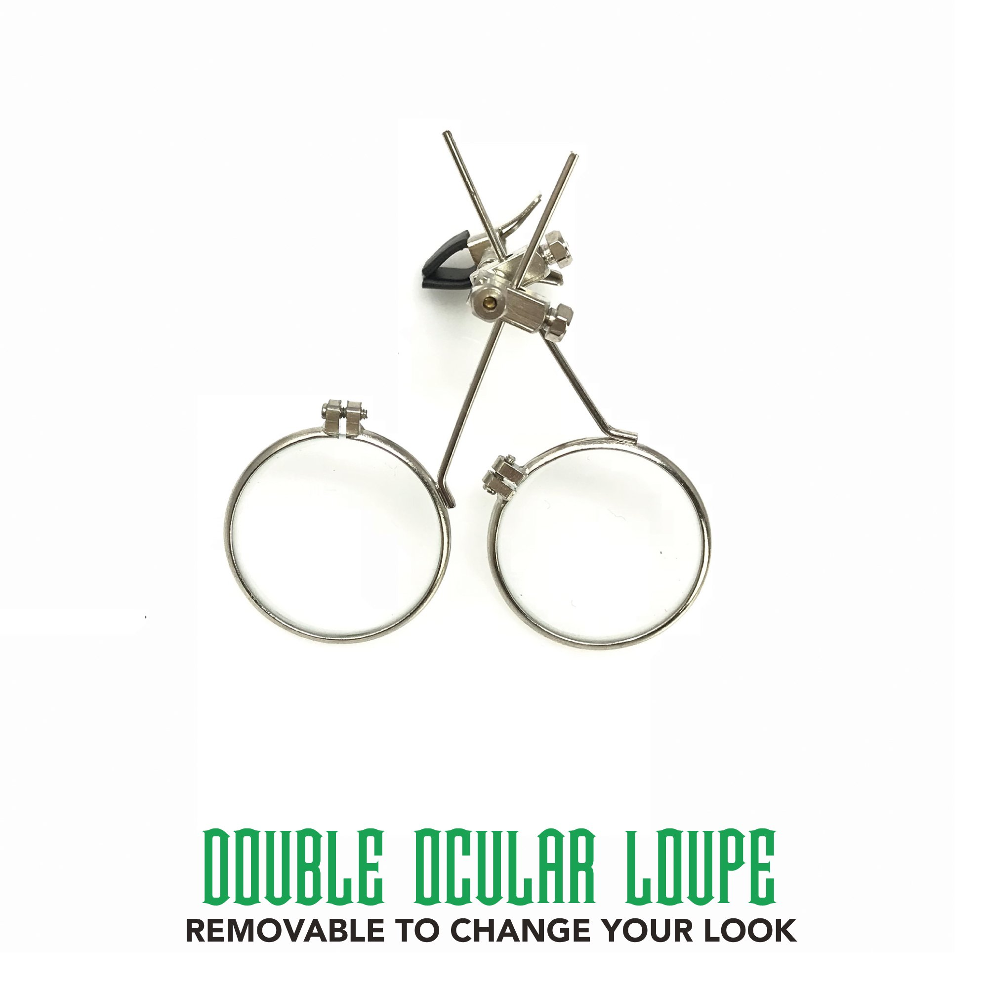Steampunk Victorian Style Goggles with Compass Design, Emerald Green Lenses & Ocular Loupe by UMBRELLALABORATORY (Image #4)