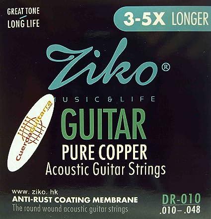 2 Juegos de cuerdas ZIKO DR-010 para Guitarra Acústica Calibre 010 ...