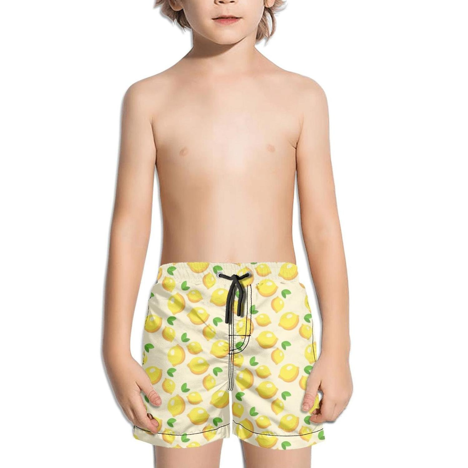 FullBo Summer Lemons Fruit Pattern Little Boys Short Swim Trunks Quick Dry Beach Shorts