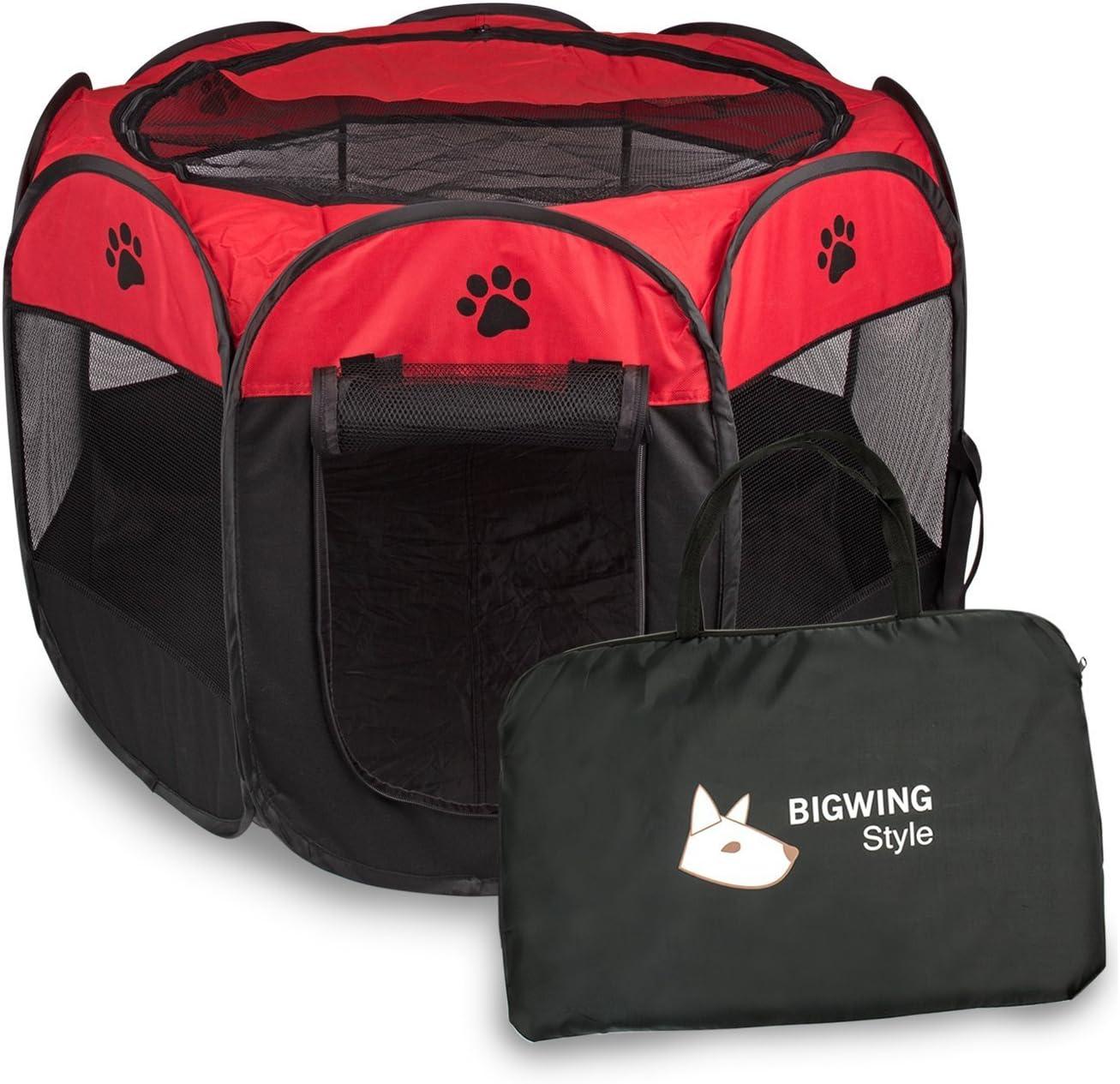 BIGWING Style Parque Mascota de Juego Entrenamiento Dormitorio Perro Gato Conejo Octágono Plegable Lavable Durable 73x 73x 43 CM, Negro y Rojo