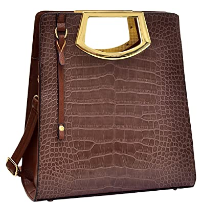 1e2fc69cafc7 Amazon.com  Dasein Tall Structured Croc Tote (Brown)  Shoes