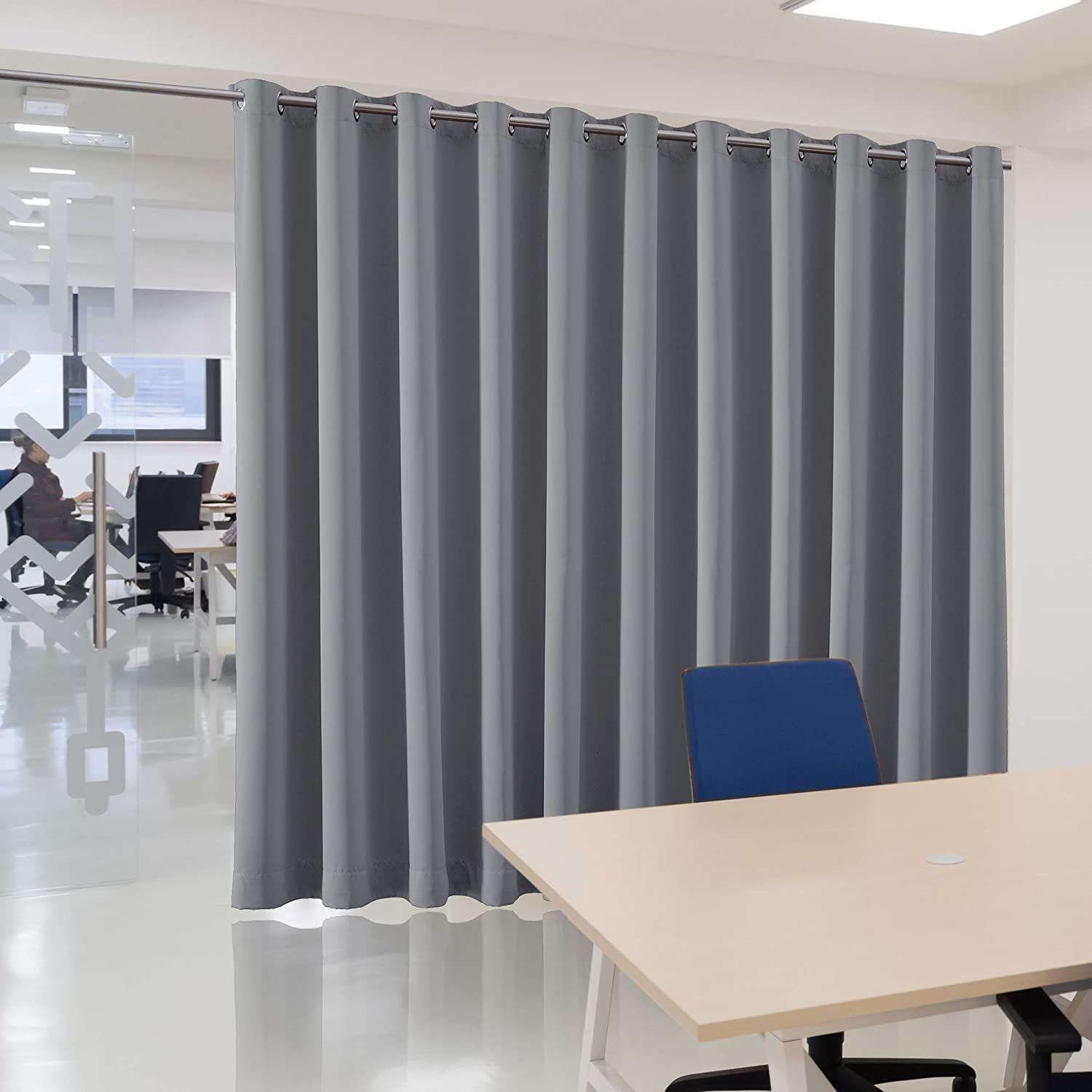 bluCOASTLINE Room Divider Curtain Extra Wide Blackout Curtain Panel Multiuse Premium Heavyweight Thermal Insulated Space Division Total Privacy Protection,8.5ft Wide x 7ft Tall Black