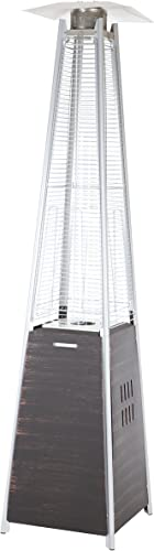 Fire Sense Coronado Brushed Brozne Pyramid Flame Heater with Wheels Beautiful Tall Flame Uses 20 Pound Propane Tank 40,000 BTU Output Portable Outdoor and Patio Heat Lamp