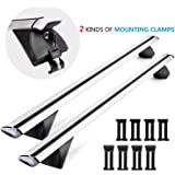 "CAR DRESS Cross Bars Roof Rack Adjustable 53"" Aluminum Luggage Rack Crossbars Ideal for Roof Box Bicycle,Kayak,Canoe,Ski Rack Fits Raised Side Rails with Gap & Flush Side Rails with Groove at Sides"