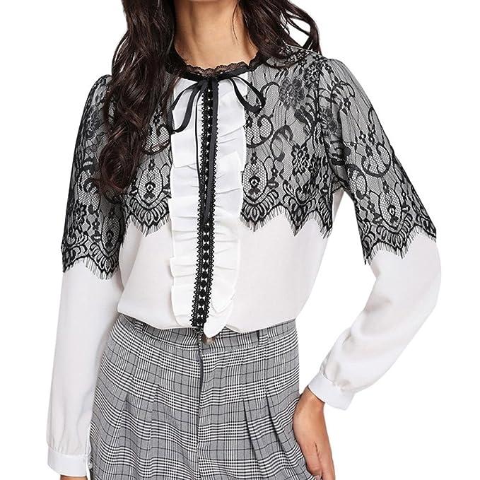 Blusa Sexy Mujer Elegante 2018,BBestseller Mujer Primavera Verano Costura de Encaje de Las Señoras Blusas Camiseta de Gasa Casual Señoras Volantes ...