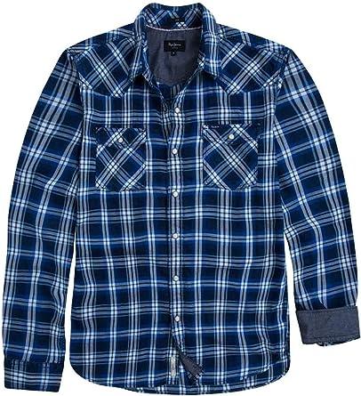 Pepe Jeans Camisa Cuadros Grant Azul Hombre: Amazon.es: Ropa ...