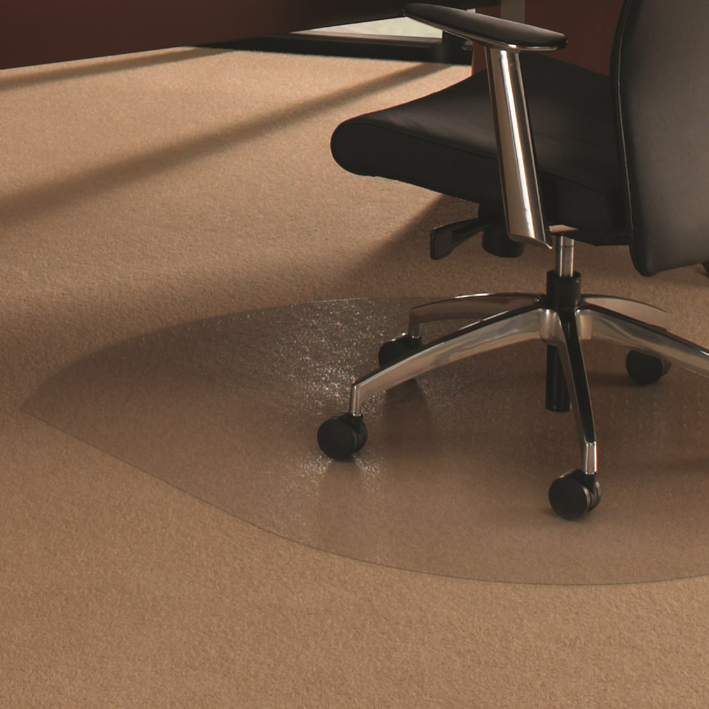 "Floortex Cleartex UltiMat Polycarbonate Chair Mat for Low/Medium Pile Carpets up to 1/2"" Thick, 49"" x 39"", Contoured, Clear (AFCRCM35048)"