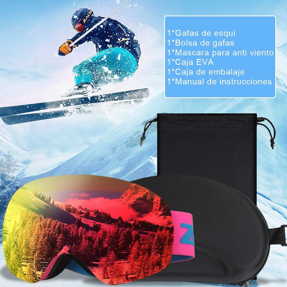 Moto de Nieve,Anti-Niebla y Anti-Nieve Lente Rojo Zacro Gafas de Esqu/í,Gafas de Snowboard Unisex,OTG 100/% UV400 Protecci/ón Gafas de Esqu/í,Doble Esf/érica Lentes para Esqu/í Snowboard