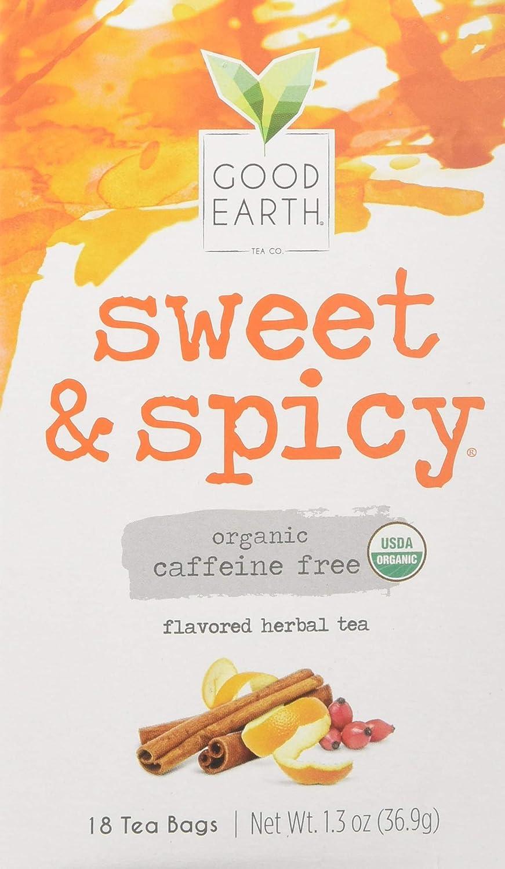 Good Earth Teas Organic Sweet and Spicy Herbal Caffeine Free Tea Bag, 18 Count