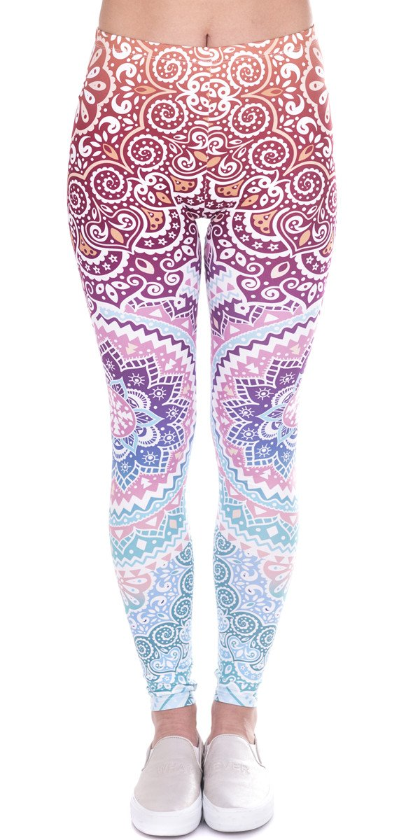 Ndoobiy Women's Printed Leggings Full-Length Regular/Plus Size Yoga Workout Leggings Pants Soft Capri L2(zi Circle OS)