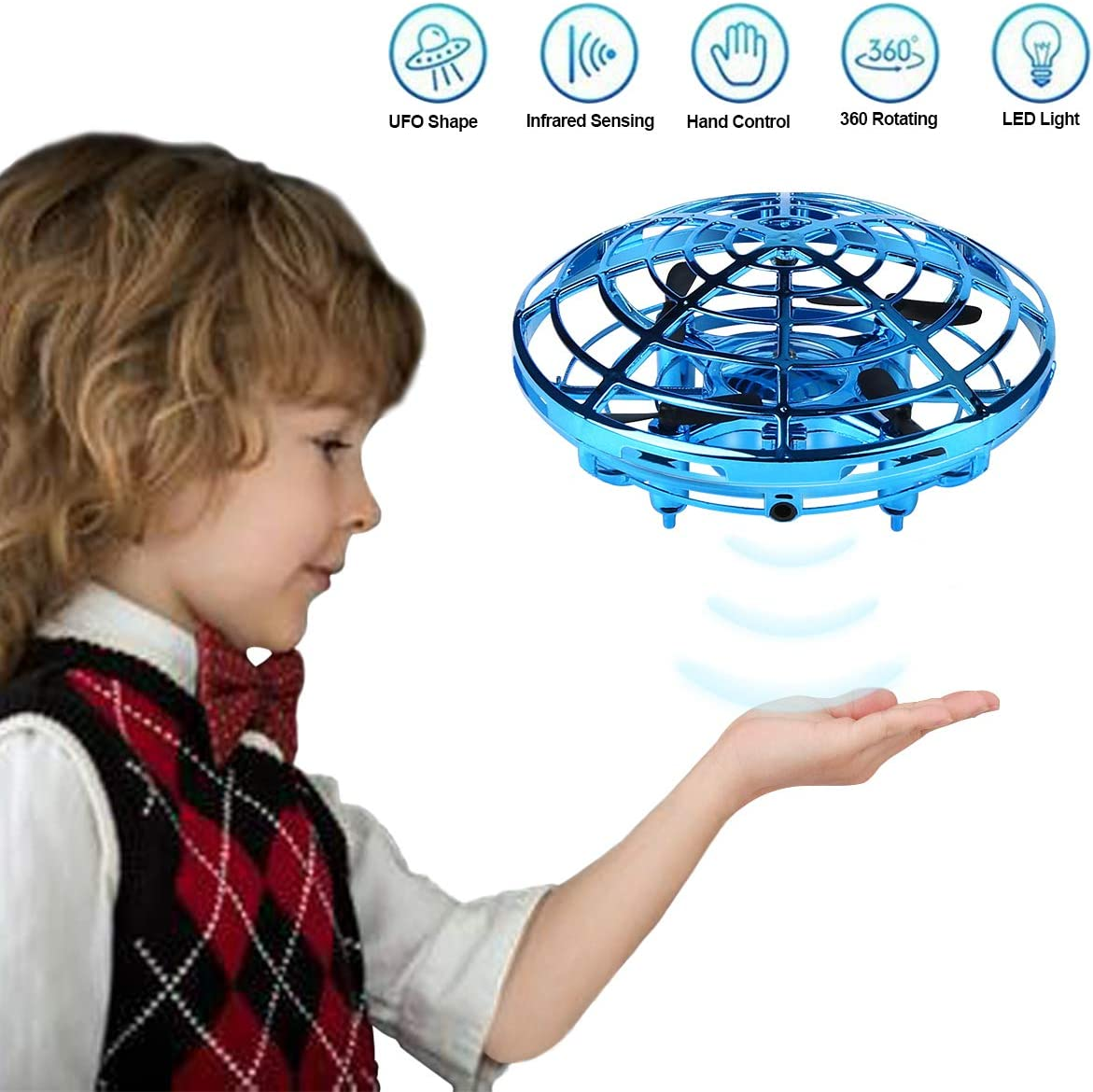 Mini Drone UFO para Niños - 360° Rotación Avión Volador Juguete - Recargable Flying Helicóptero de Bola Voladora Interactiva Controlada a Mano para Niños Adultos (Azul)