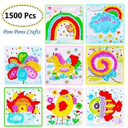 amazon com diy pompoms art crafts kit preschool paper crafts