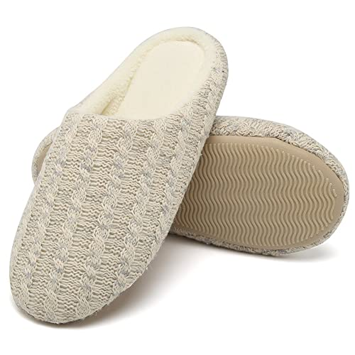 89e24a2b5c2 CIOR Women s House Slippers Cashmere Cotton Knitted Anti-Slip Winter Warm  Breathable Indoor Shoes