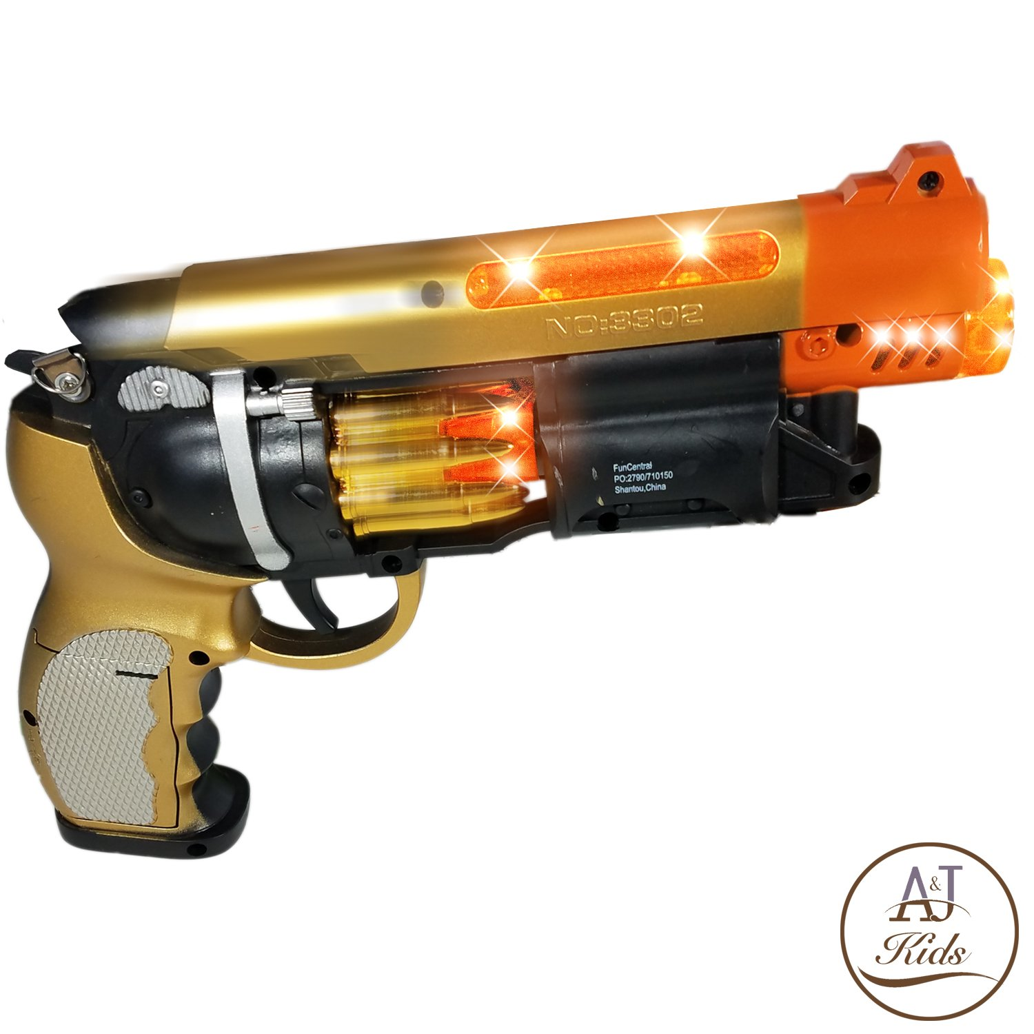 ANJ Kids Toys - Pretend Play Golden Blade Runner Style Toy Guns for Boys | Toy Pistol Gun with Sound and Flashing Lights | Detailed Craft with Rapid Firing, Barrel Vibrating and Cylinder Revolving