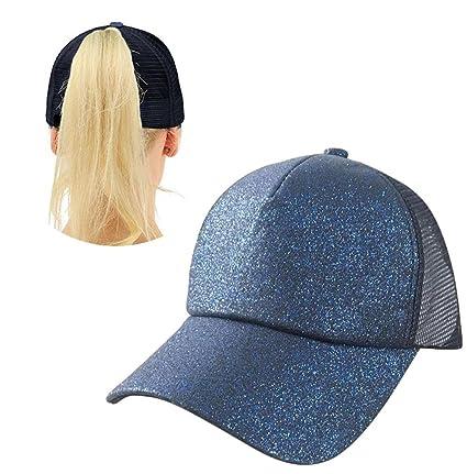 Aolvo blu scuro Ponytail cappello da baseball personalizzato alta messy Bun  cappello da baseball regolabile Flatbill 0293093f3560