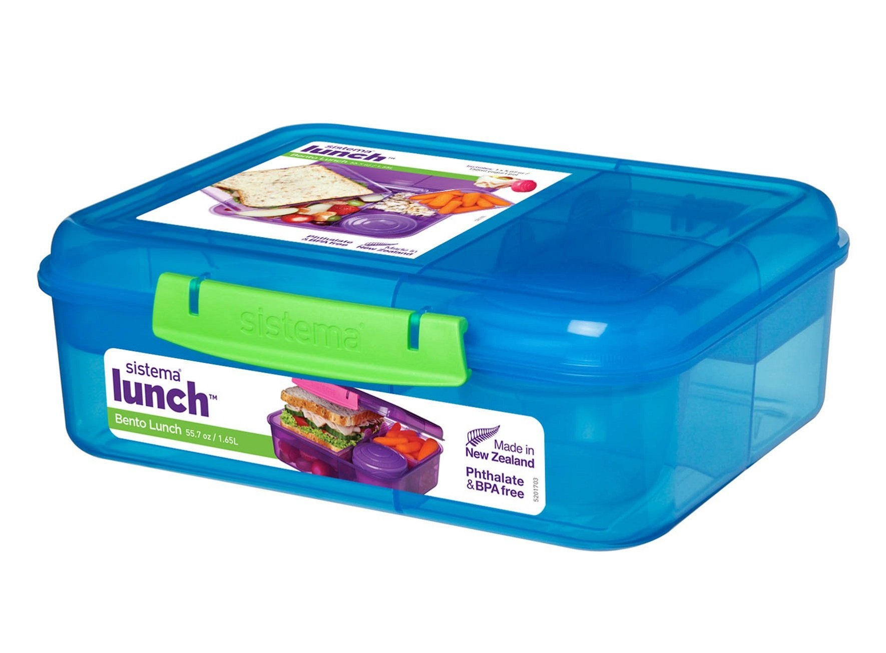 Sistema 41690 Collection Bento Lunch Box Solid Assorted Colors with Contrasting Klips, 6.9 Cup, Assorted Solid Colors/Contrasting Klips by Sistema