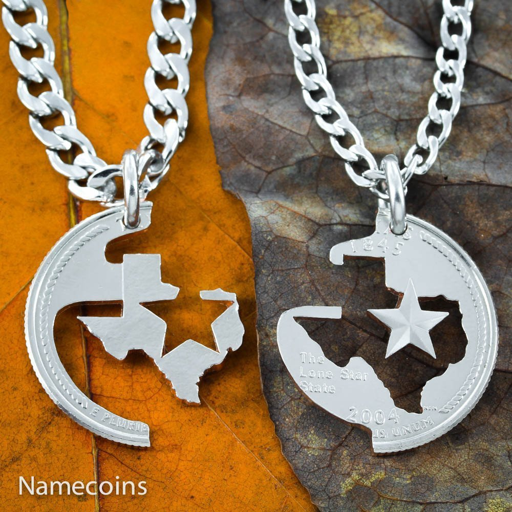 Texas Star Necklace set for couples or friends. Cut from a Texas State quarter by NameCoins