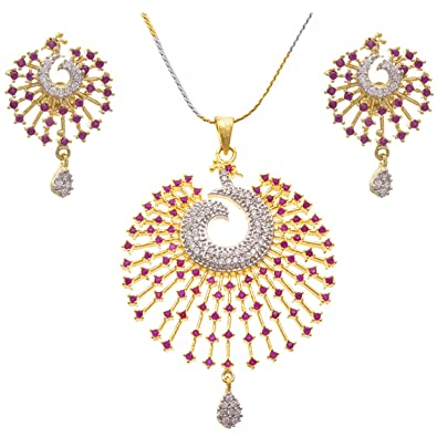 fdb053372f JFL - Jewellery for Less Ruby Red Cz American Diamonds Gold Plated Pendant  Necklace & Earrings